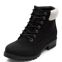 Black Shearling Cuff Lace Up Ankle Boots