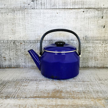 Teapot Vintage Mid Century Metal Tea Pot Vintage Enamel Teapot with Resin Handle Tea Kettle Retro Teapot Mid Century Kitchen Decor