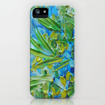 LAKE LOVE Art iPhone 4 4s 5 5s 5c 6 Cell Phone Case Samsung Galaxy Case Fine Art Cover Colorful Blue Green Lagoon Seaweed Abstract Painting