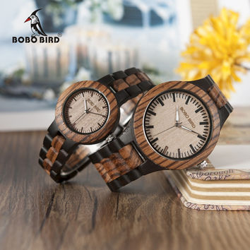 WOW!  Zebra Ebony Wooden Watches for Men Women Two-tone Quartz Lovers Watch with Tool for Adjusting Size Wood Box