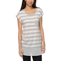 Jolt Grey Stripe & Chiffon Tunic Top