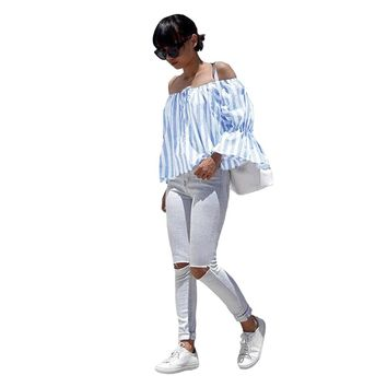 Summer Off Shoulder Striped Women Blouses And Tops Sexy Long Sleeve Shirt Crop Tops