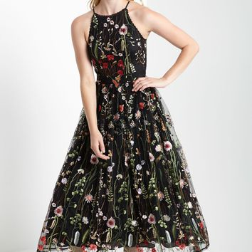 `Black High Neck Floral Embroidered Mesh Maxi Dress