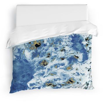 MARBLED BLUE Duvet Cover By Marina Gurtierrez