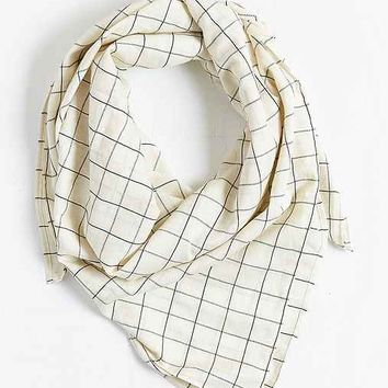 Windowpane Grid Square Scarf- Black & White One