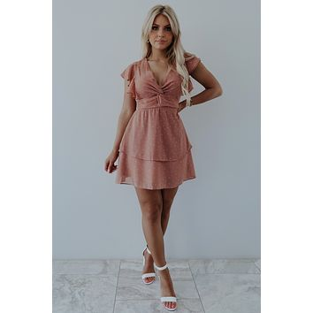 Right On The Dot Dress: Dusty Rose/White
