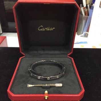 One-nice? Cartier LOVE Bracelet Size 19 750 18K White Gold WG FULL SET Panther Panther