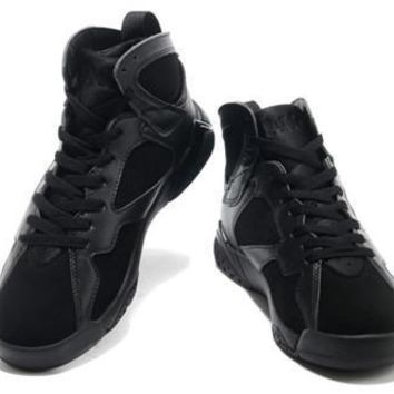 Cheap Air Jordan 7 Retro Men Shoes Pure Black On Sale