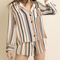 Endless Stripe Shirt & Short Set