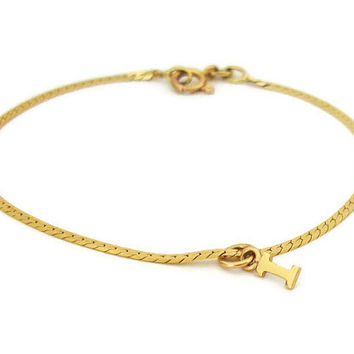 14K Gold Signed Balestra Italy 585 Bracelet with Removable Letter Initial I Charm - 14KG Fine Bracelet Everyday Bracelet Made In Italy