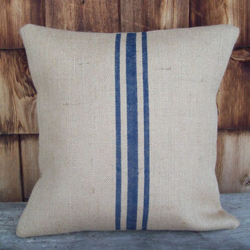 Natural Burlap Grain Sack Pillow Cover with Hand Painted Stripes 18 x 18 by North Country Comforts / Rustic Pillow Cover