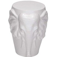 White Ceramic Boho Elephant Stool