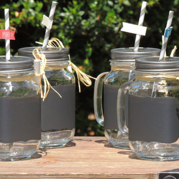 Mason jar mug set, mason jar mugs, wedding mason jars, tinted mason jar