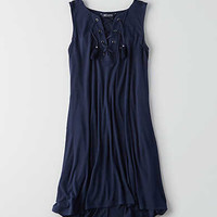 AEO Soft & Sexy Lace-Up Swing Dress, Navy