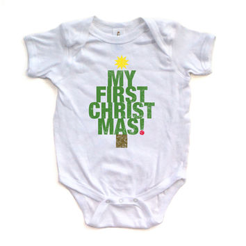 """Apericots Cute """"My First Christmas"""" Tree Shape Xmas Holiday Baby Soft Warm Bodysuit"""
