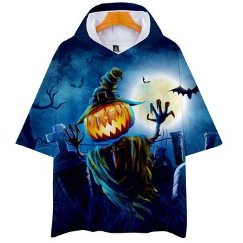3D HALLOWEEN Pumpkin Ghost Scary Women/Men T Shirt with Hat Couple Kpop Gothic Harajuku Autumn Pullover Clothes T Shirts Hoodies