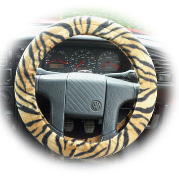 Gold and black tiger stripe fleece car steering wheel cover Wild thing !