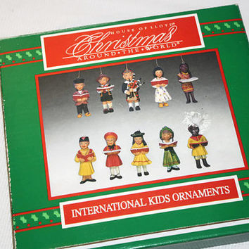 House of Lloyd Christmas Around the World Ornament Set, Vintage Holiday Decorations, International Kids
