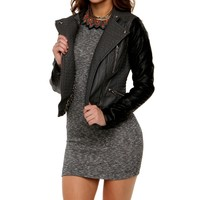 Sale-charcoal Contrast Faux Leather Jacket