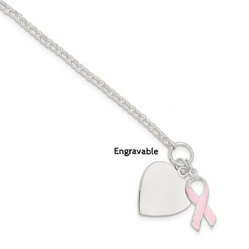 Sterling Silver Engravable Heart and Pink Ribbon Charm Toggle Bracelet