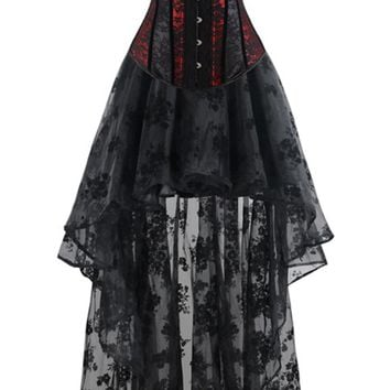Atomic Red and Black Floral Organza Corset and Skirt