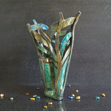 Raku pottery vase - wall centerpiece vase - sea anemone