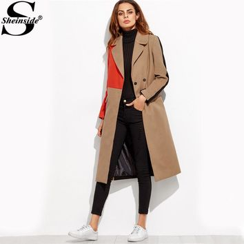 Sheinside Patchwork Double Breasted Coats Women Camel Long Sleeve Color Block Casual Long Outer 2017 Winter Work Coat