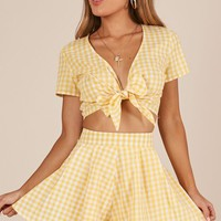 Pacific Beach two piece set in yellow gingham Produced By SHOWPO
