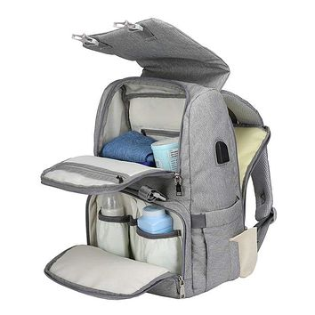Baby Diaper Bag With USB Interface Large Maternity Travel Backpack