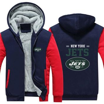 NFL American football Men's winter casual jacket Warm thicken hoodies New York Jets
