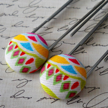 MultiColored Geometric Pattern Fabric Covered Button by JeJeweled