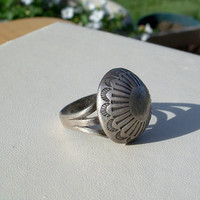 Vintage Silver Concho Dome Ring Old Navajo Stamped Size 7 8