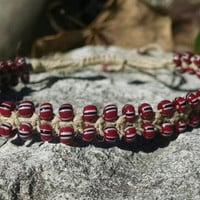 Mahogany Czech Tribal Seed Beaded Adjustable Hemp Bracelet