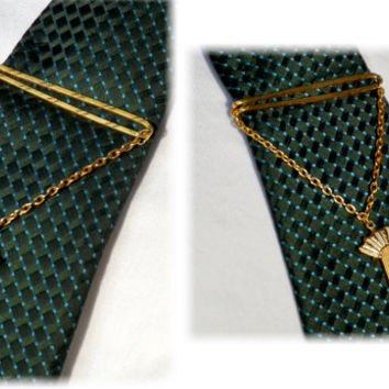 Hickok Tie Bar,Vintage Tie Clip with Chain, Damascene Accent,Gold Tone Tie Bar,Hickok USA, Formal Wear, Groom Gift,Vintage Mens Accessories