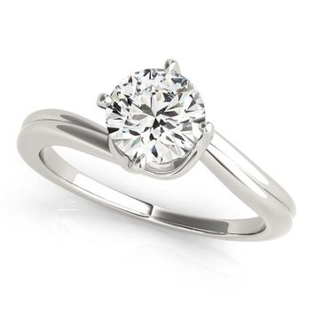 14K White Gold Bypass Style Solitaire Round Diamond Engagement Ring (1 ct.  tw. f12941aa62