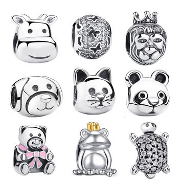 2016 Gift 925 Sterling Silver Lovely Cat Animal Charms Fit Original Pandora Bracelets Beads amp Jewelry Making S053