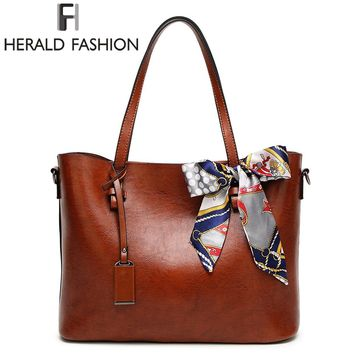 HERALD FASHION Woman Shoulder Bags With Scarf Luxury Handbags Women Bags Designer High Quality PU Leather Totes Handbag