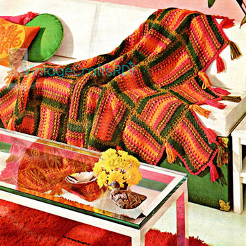 1970s Rich Tone Colorful Afghan-Vintage Crochet Pattern-Easy Home Decor-Colorful Blanket-Afghan Pattern-Vintage Boho Deco-Vintage Crafts PDF