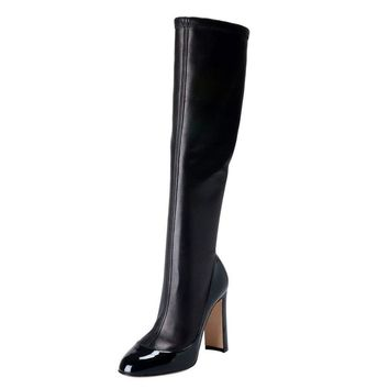 Dolce & Gabbana Women's Black Leather High Heel Boots Shoes
