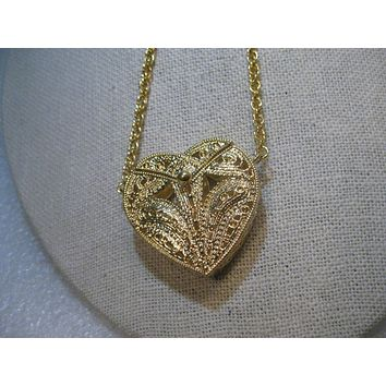 """W. Lind Filigree Heart Purse/Locket Necklace, with Slide on Chain  28"""", 14kt GE"""