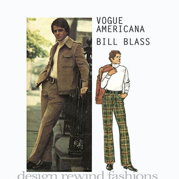 1970s BILL BLASS Designer Men's Lined Jacket w/ Back Yoke & Straight Legged Pants Vogue Americana 2768 UNCUT Vintage Sewing Patterns + Label