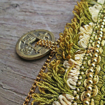 Chinese coin necklace -Boho jewelry - Fringe choker - Lucky coin necklace - Bohemian choker - Antique Chinese Coin jewelry - Asian Inspired
