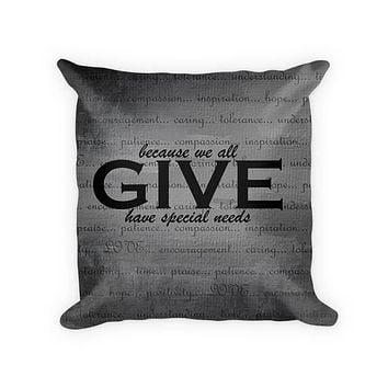 Give Love Woven Cotton Throw Pillow