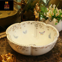 Artistic Handmade Birds Butterflies White Sink Countertop Ceramic Bathroom Sink