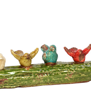 Charming & Delightful Four Cheerful Ceramic Birds On Tree