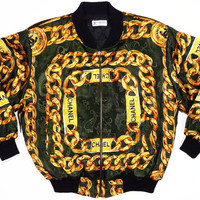 Insane vintage gold chains satin jacket by Chanel