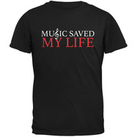Music Saved My Life Black Adult T-Shirt