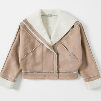 Chic Khaki Faux Lamb Wool Faux Suede Jacket  Women Winter Motorcycle Biker Jacket Lapel Zipper Loose Coat Outerwear Boyfriend