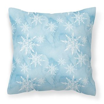 Watercolor Snowflake on Light Blue Fabric Decorative Pillow BB7552PW1414