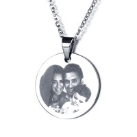 Stainless Steel Engraved Round Disc Pendant Necklace